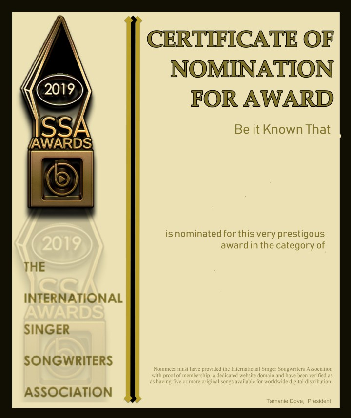 2019 ISSA Award Nomination Certificate Blank