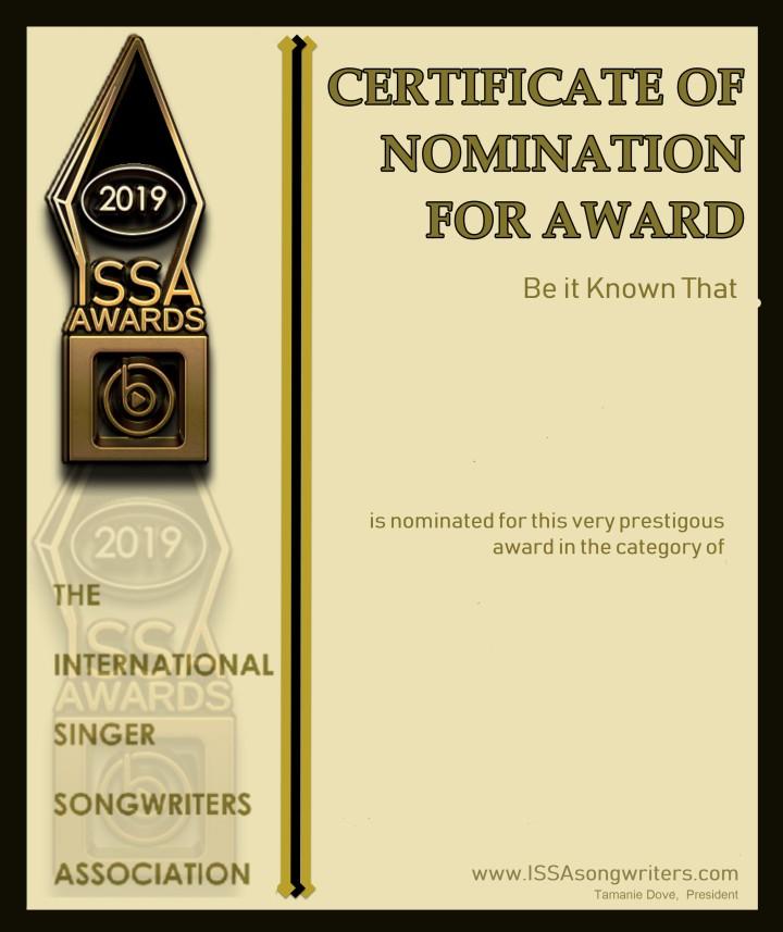 ISSA 2019 Nomination Certficate NonArtist Blank