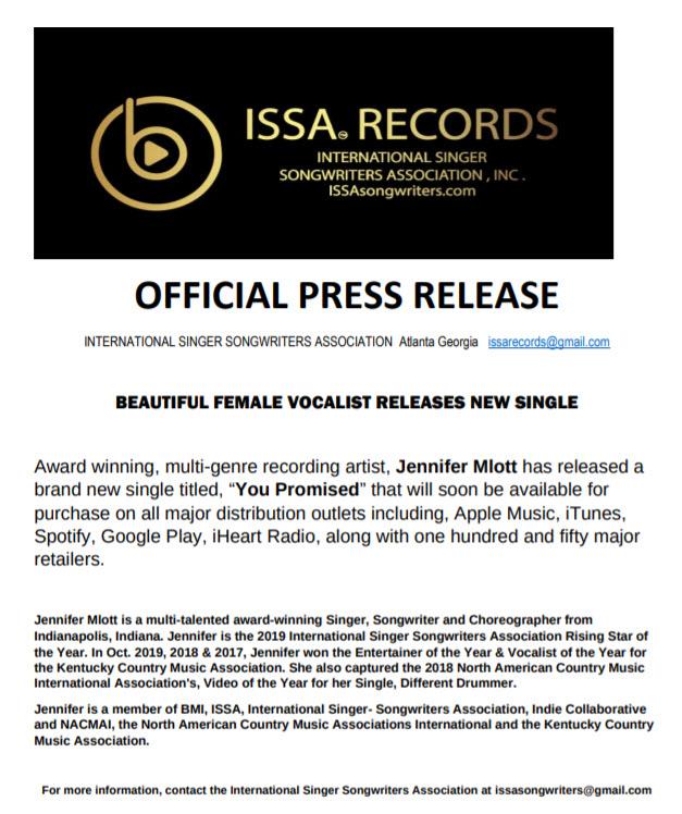 Official Press Release Jennifer Mlott ISSA Records