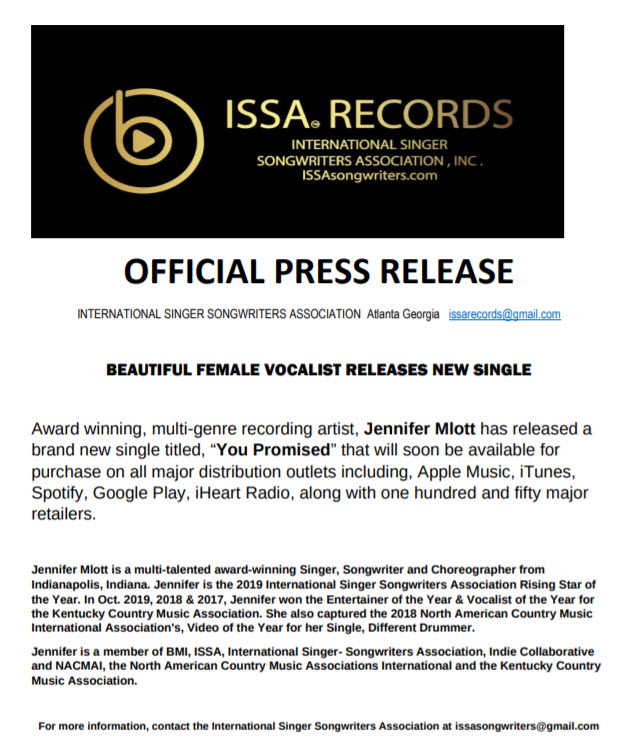Official Press Release Jennifer Mlott ISSA Records